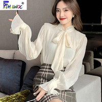 Papillon Top Top Donne Stile Coreano Design Design Abiti Flare Sleeve Elegante Ufficio Lady Cute Ribbon Sweet Basic Shirts Camicette 1627