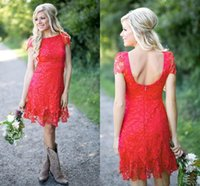 2021 Cheap Bridesmaid Dresses Country Jewel Neck Red Knee Length Short Sleeve Full Lace A Line Plus Size Backless Formal Maid of Honor Gowns