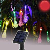 Solarlampen LED String Girlande Weihnachtsfeiertaglichter für Hochzeitsgarten Party Dekoration Wassertröpfchen Typ 25LED 7 Meter