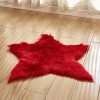 Carpets Pentagram Faux Fur Area Rug Five-pointed Star Living Room Floor Mat Long Plush Artificial Sheepskin Shaggy Carpet T353