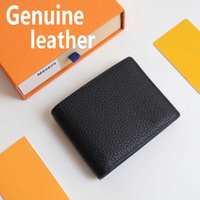 M69829 Luxury Designer men Short wallet fashion credit card holder top Quality Grain lines genuine leather man wallets with box womens purse Money clip bag