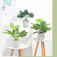 Decorative Flowers & Wreaths 1pc Simulation Cement Pot Plant Artificial Evergreen Bonsai TV Cabinet Desktop Decoration