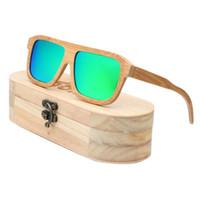 Ablibi Top Brand Designer Hecho a mano Hombre Bambú Gafas de sol de madera para mujer Polarizadas de revestimiento de oro Lentes gafas en caja de madera