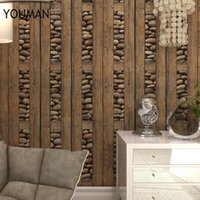 Wallpapers Vintage Stone 3d PVC Wood Waterproof Wall Papers Home Decor Personalized Contact Coffee Shop Paper