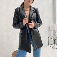 Causal Noir PU Faux En Cuir Manteau Femme Fashion Plateau Blazers Femme Simple Blazers lâches Mesdames