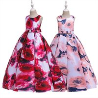 Floral Print Rose For Girls Girl Dresses Kids Wedding Events Frocks Flower Birthday Party Costumes 6 8 10 12 14