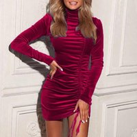 Casual Dresses Solid Color Banquet Dress For Women Long Sleeve Slim Mini Drawstring Party Bodycon Robe Femme