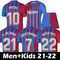Tops Camisetas de Football Messi Kun Aguero Barcelona Barcelona Soccer Jerseys Barca FC 20 21 22 Ansu Fati 2021 2022 Grieuzmann F.De Jong Des Pedri Kit De Chemise Hommes Enfants