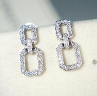 Victoria Super Star Long Dangle Earring Luxury Jewelry 925 Sterling Silver Full Pave White Sapphire Diamond Geometry Women Drop Earring Gift
