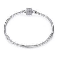 Drop Shipping Посеребренные браслеты Змеиная цепь Fit Charm Bear для Pandora Bangle Браслет Женщины Подарок 12 T2