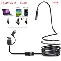 3 in1 Android USB Type-C Инспекция эндоскоп камеры 5 мм 7 мм 6 LED HD водонепроницаемая проверка видеокамеры