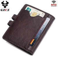 Card Holders GZCZ Slim Brand Men Genuine Leather ID Credit Money Clip Bifold Male Purse Billfold Wallet Clamp For Case Holder