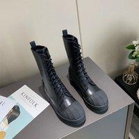 Высококачественные женские поступления моды Женщины All-Match Shell-Toe Mid-Tube Boots Martin Boots Сплошное Цветные начало Теплые мягкие кожаные ботинки Knight