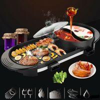 2 in 1 elektrische heiße topf pan brisecue grill nicht stick teppanyaki suppe tragbarer heißer topf mini bbq