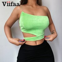 Damen Tanks Camis VIIFAA 2021 Frauen Strickgrün Green Top Eine Schulter Sexy Cut Out Club Party Sommer Kleidung Backless Solid Tops