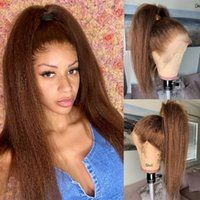 Kinky Straight Brown Lace Wigs Remy Hair Pre Plucked with Baby Hairss Yaki Straights 180% 13x6Lace Front Human Hairs Wigss for Women