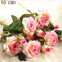 YO CHO 2 Heads Real Touch Roses Wedding Flowers Artificial Peony Silk Velvet Flower Bridal Bouquet Home Decor Party Decoracion Z0817