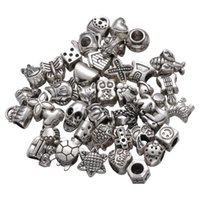 Charm Bracelets 40pcs Bracelet Loose Beads Accessories Alloy Large Hole DIY Making Accessory For Silver (Mixed Style)