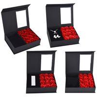 الإبداعية الصابون الأبدية ارتفع هدية مربع صغيرة رائعة عيد الحب حالات مجوهرات الزواج خاتم صناديق حامل