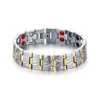 링크, 체인 티타늄 더블 행 에너지 돌 마그네틱 팔찌 골드 쥬얼리 도매 B00745 사이 남성을위한 마그네틱 팔찌