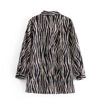 2021 Новая Весна осень женская рубашка с длинным рукавом старинные Zebra Striped Print Повседневная блузка 3wew