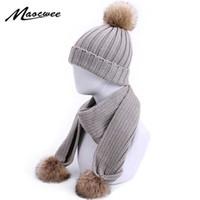 Children Hat Scarf Set with Fake Fur Pompon Two Pieces Women Beanie Keep Warm Winter Knitted Skullies Kids Bone Hats Girls Cap H0923