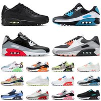 Nike Air Max Airmax 90 Kadın Erkek Koşu Ayakkabıları 90s Solar Flare Pembe Kahverengi Süet Gri Turuncu Üçlü Beyaz Siyah Kapalı Eğitmenler Spor Spor Ayakkabıları Boyut 46