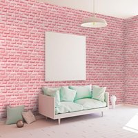 Wallpapers Clear The Inventory Pink Brick Grain 3d Wallpaper Waterproof Self-adhesive PVC Wall Paper For Home Decoration