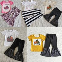 Fashion Kids Boutique Clothing Sets Pumpkin Design Baby Girls Designer Clothes Bell Bottom Pants Halloween Toddler Outfits Wholesale Kid Children Outfit Fall Set