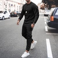 Men's Tracksuits Men Sets Tracksuit Autumn Winter O Neck Sweatshirt Drawstring Outfit Sportswear 2021 Male Suit Pullover Two Piece Set Casua