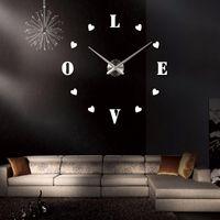 Wall Clocks Large 47inch Diy Home Decor Sticker 3D Quartz Watch Crafts Acrylic+EVR+Metal Digital Alarm Clock