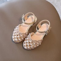 Sandals Summer Fashion Trend Girl Princess Shoes Kids Rhinestone Pearl Catwalk Hollow Children Heightening 4 5 6 7 8 9 10y