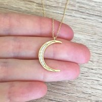 Crescent Moon Pendant Necklace Amulet Collier Wicca Jewelry Rose Gold Color Ketting Moon Crystal Necklace Women Bijoux BFF Gifts 191
