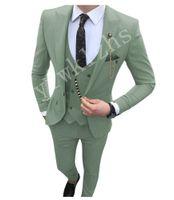 Classic One Button Wedding Tuxedos Peak Lapel Slim Fit Suits For Men Groomsmen Suit Prom Formal (Jacket+Pants+Vest+Tie) W758