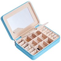 Jewelry Pouches, Bags Leather Box With Mirror Jewellery Organizer Necklace Earring Stud Ring Bracelet Storage Gift Case Woman Girl