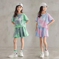 Girls Summer Suit Kids Short Sleeve Top Skirt Pants 2pc Outfits Children Sports Clothing Set Teenage Casual Clothes