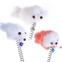 Lustige Swing Frühling Mäuse mit Saugnapf Pelzige Katze Bunte Feder Tails Maus Spielzeug Für Katzen Kleine niedliche Haustier Spielzeug HWD8336