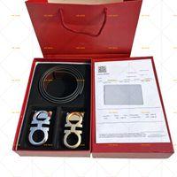 Calças de couro genuínas cintas cintos de ouro prata preto liso dois fivelas de cinto com caixa laranja