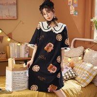 Women's Sleepwear 2021 Women Summer Cotton Nightgowns Short-sleeved Korean Loose Plus Size 3XL 4XL Nightshirt Female Cartoon Night Dress
