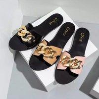 Dycly New Ladies Slippers2021 Diapositives d'été Mode Noir Chaîne en métal Décorée Toile Ronde Toile Femmes Diaposibles Chaussures Femme Beach Chaussures