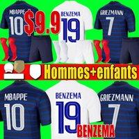 فرنسا لكرة القدم جيرسي لكرة القدم قميص 2018 كأس العالم جيرسي 100th 100 سنة للرجال + أطفال طقم زي mbappe يورو 2020 2021 France فرنسا