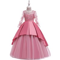 Long Sleeve Lace Dress for Girls Embroidery Beading Flower Wedding Dress Children Princess Formal Clothes Evening Party Costume Christmas Dresses