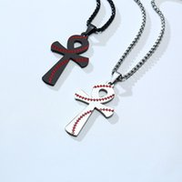 Vintage Gothic Cross Pendants Cool Street Style Necklaces Jewelry Stainless Steel Sports Baseball Necklaces for Men