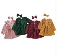 Mädchen kleidet Kleinkind Cord-Kleid mit Haarnadel-Baby-Spitze-Prinzessin Bowknot-Stirnband-Infant Langärzte Neugeborene Boutique-Kleidung WMQ626