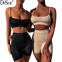 DPSDE 2021 Sommar Kvinnor Mode Sexig Fair Maiden Style Ärmlös Condole Belt Kort Top Elastiska Kort Byxor Två Piece Sets
