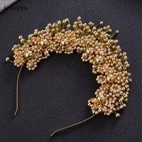 Perlas hechas a mano diadema nupcial con cristales de novia corona de oro / plateado accesorio para el cabello de la boda SQ0177