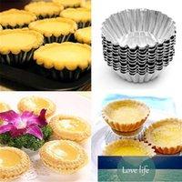 10 stücke Nichtstick Welligkeit Aluminiumlegierung Egg Tart Mold Blume Form Wiederverwendbarer Cupcake und Muffin Backbecher Törtchen Pfannen