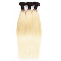 bulk 3 Bundles Color T1B613 Blonde Hair Extension Silky Straight Two Tone Ombre Peruvian Indian Weaving