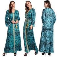 Повседневные платья леопарда Дубай мода ислам мусульманское платье KAFTAN женщины Djellaba Robe Femme африканская партия платье Марокко абая печать