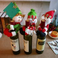 New XMAS Red Wine Bottles Cover Bags bottle holder Party Decors Hug Santa Claus Snowman Dinner Table Decoration Home Christmas Wholesale